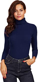 Milumia Women's Rolled Neck Slim Fit Ribbed Knit Fitted Pullovers Sweater