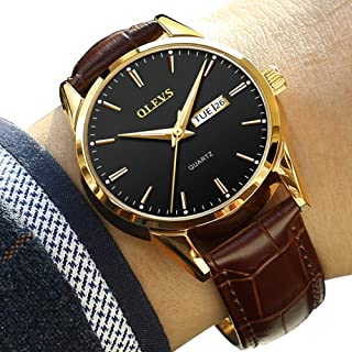 Day Date Watches for Men,Brown Leather Dress Watches on Sale,Mens Wrist Watch Waterproof Classic Black and Rose Gold Watch...