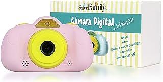 SaveFamilyCam. Cámara de Fotos para Niños. Cámara de vídeo para niños. Cámara Digital SaveFamily Infantil. Gratis Tarjeta SD. Marca española. Incluye Modo Selfie Stickers Juegos y MP3. (Rosa)