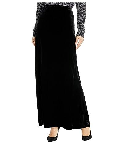 Alex Evenings Long Velvet Skirt with Side Slit (Black) Women