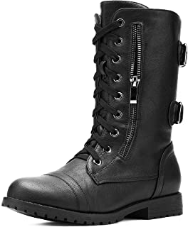 Women's Ankle Bootie Winter Lace up Mid Calf Military...