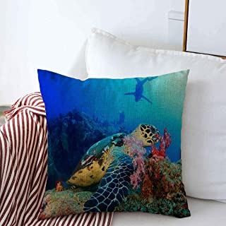 Throw Pillows Covers Cushion Case Thailand Blue Adventure Hawksbill Sea Turtle Feeds Underwater On Coral Sports Recreation Green Design Cotton Linen for Fall Couch Home Decor 16 x 16 Inches
