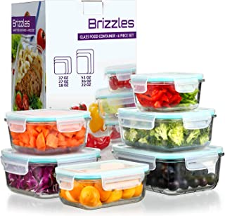 Glass Food Storage Containers with Lids - Airtight Glass Lunch Containers with Locking Lids,Leakproof Meal Prep Glass Containers,Freezer to Oven Safe,18-51OZ(6 Sets Pack),BPA Free,FDA approved.