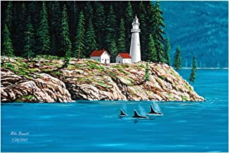 Northwest Passage Lighthouse #1 Travel Art Print Poster by Mike Bennett (12