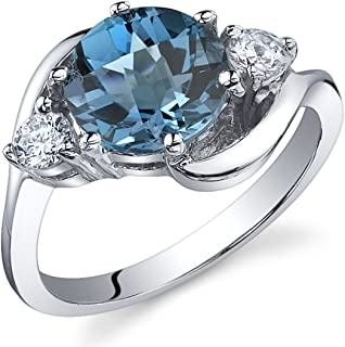 3 Stone Design 2.25 carats London Blue Topaz Ring in Sterling Silver Rhodium Nickel Finish Sizes 5 to 9