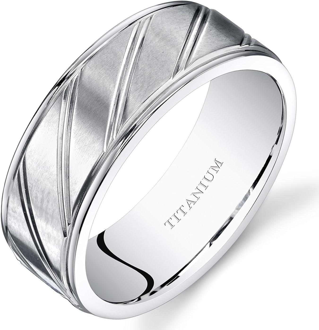 Peora Mens Titanium Wedding Band Ring 8mm Matte Finish Diagonal Grooves Sizes 7-14