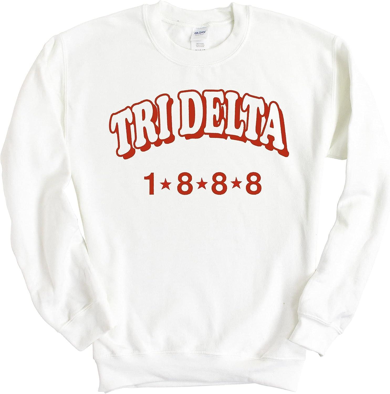 Delta Delta Delta Sweatshirt - Tri Delta Red Arch Crewneck Sweatshirt- Sorority Big Little Gift Idea