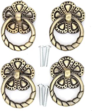4 PCs Cabinet Hardware with Antique Brass Finish - Drop Ring Pulls Drawer Ring Handles with Flower-Shaped Base, Ring Size 1-3