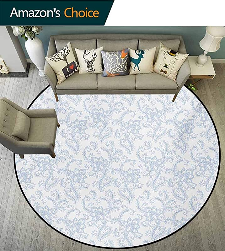 Henna Round Rug Soft Colored Floral Arrangement With Leaves Stalks And Geometric Shapes Design Carpet Door Pad For Bedroom Living Room Balcony Kitchen Mat Diameter 24 Inch