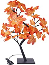 MOOVGTP LED Esdoorn Boom Licht, 17.7 inch Kunstmatige Esdoorn Bladeren Boom Licht USB Kerstboom Tafelblad Lichten voor Vak...