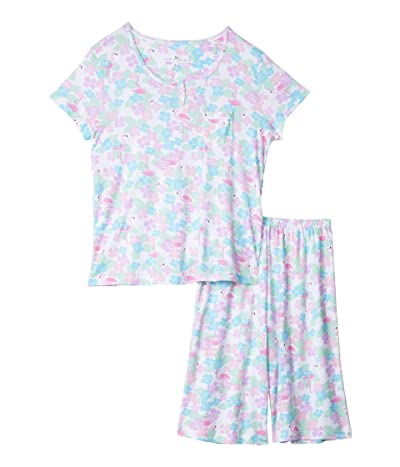 Karen Neuburger Tropical Capsule Short Sleeve Pullover Bermuda Pajama (Caribbean Queen White) Women