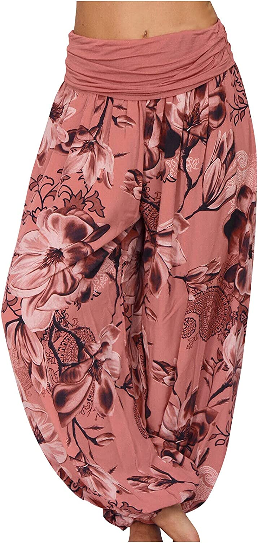 VonVonCo Flowy Pants for Women Casual Plus Size Print Elastic Waist Straight Loose Baggy Long Pants