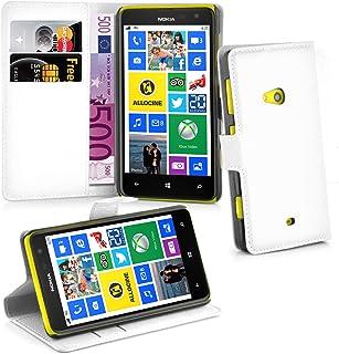 Cadorabo Fodral kompatibelt med Nokia Lumia 625 i ARKTISKT VIT - Skyddsfodral med Magnetfäste, Stativfunktion och Kortplat...