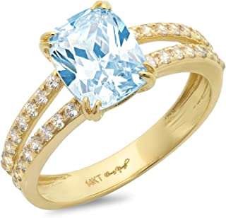 3.47ct Brilliant Cushion Cut Solitaire with accent Aquamarine Blue Simulated Diamond CZ VVS1 Designer Modern Statement Accent Ring Solid 14k Yellow Gold Clara Pucci