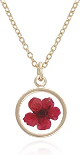 BONALUNA Pressed Flower Circle Frame Pendant Yellow Gold Plated Necklace