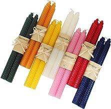XIANGZHU 7 Pair 100% Pure Beeswax Handmade Taper Candles, 9 Inch Smokeless Dripless Wax..