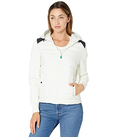 Save the Duck Karla REMI Recycled Poly Mixed Media Hooded Zip-Up Jacket (Off-White) Women