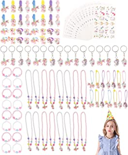 Unicorn Party Supplies Set Serves 16, 112pct Unicorn Birthday Favors Packs Including Bracelets, Necklaces, Keychains, Rings, HairClips, Tattoos, Hairbands, Unicorn Decorations for Kids Girls