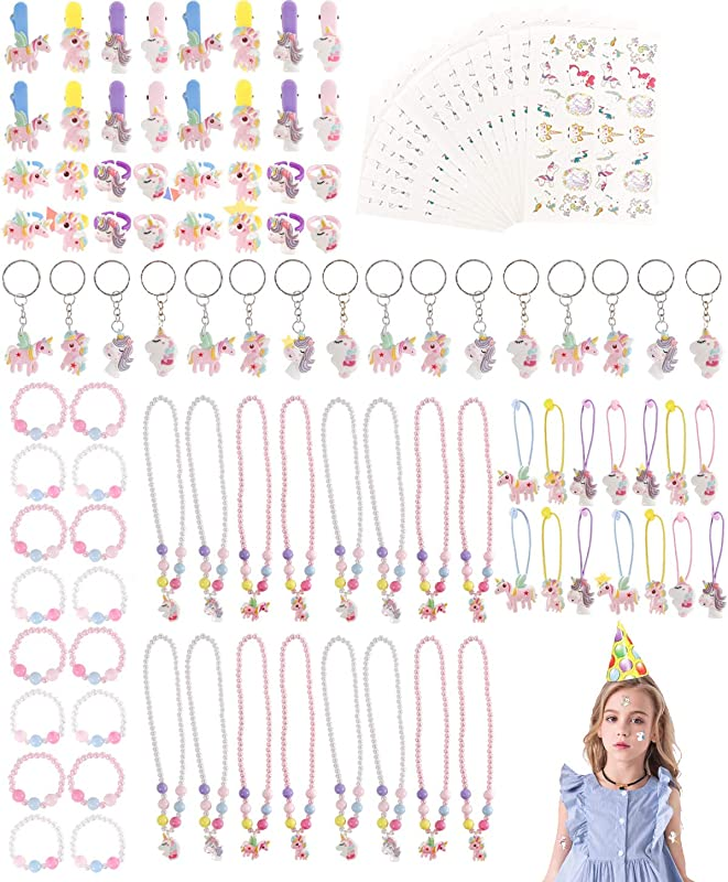 Unicorn Party Supplies Set Serves 16 112pct Unicorn Birthday Favors Packs Including Bracelets Necklaces Keychains Rings HairClips Tattoos Hairbands Unicorn Decorations For Kids Girls