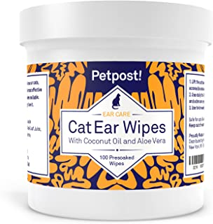 Petpost | Cat Ear Cleaner Wipes - 100 Ultra Soft Cotton Pads in Coconut Oil Solution - Treatment for Cat Ear Mite & Ear In...