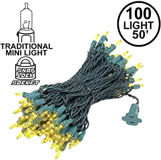 Novelty Lights 100 Light Yellow Christmas Mini String Light Set, Green Wire, Indoor/Outdoor UL Listed, 50' Long