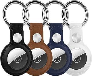 PlamPlam Airtagsの専用 ケース 4個入り高級PUレザー キーホルダー 環境にやさしい レザー クリア おしゃれ かわいい スマホ/カバン/キー/荷物/財布/バッグに掛ける (4枚セット) (ホワイト/ブラウン/ブラック/ブルー)