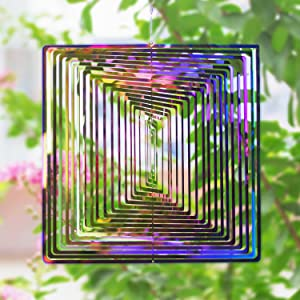 Wind Spinner Outdoor Metal Decorations, 3D Wind Spinner Sculptures Kinetic Hanging Yard Garden House Art Decor, Stainless Steel Outside Indoor Gifts Crafts Ornaments for Home Balcony Porch Patio Decor