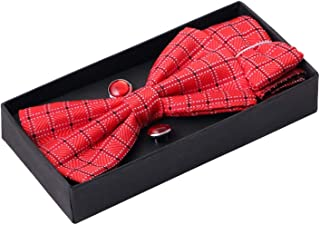 Sorella'z Mens Multicolor Micro Fibre Bowtie Pocket Square & Cufflinks Gift Set