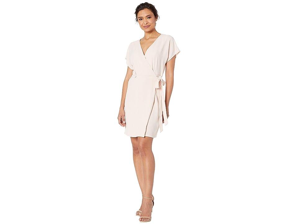 Bobeau Short Sleeve Crepe Wrap Dress (Blush) Women