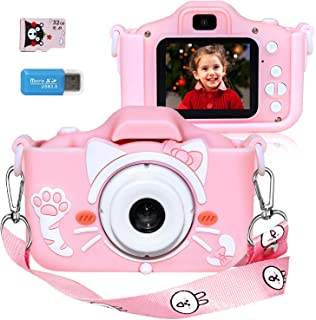 Langwolf Kids Camera for Girls, Digital Camera for Kids Toys Children Selfie Photo Video Camera with 32GB SD Card, Gifts f...