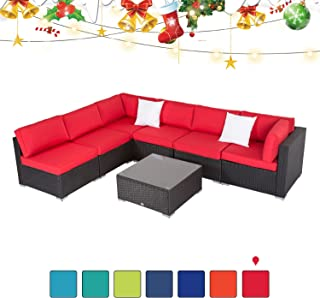 Peachtree Press Inc 7 PCs Outdoor Patio PE Rattan Wicker Sofa Sectional Furniture Set with Red Cushion, 2 Pillows and Tea Table