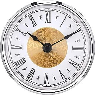 Hicarer 3-1/8 Inch (80 mm) Clock Insert with Roman Numeral, Quartz Movement, Silver Trim