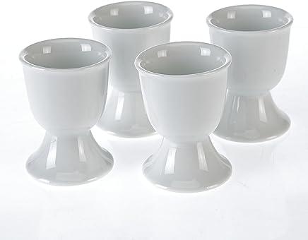 Preisvergleich für Eierbecher-Set Porzellan weiß 4-teilig Eierbehälter Becher Eierständer Eier