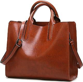 Coolives Damen Shopper Tasche aus PU-Leder mit Schulterriemen Schultertasche Umhängetasche Quadrat Handtasche für Frauen B...