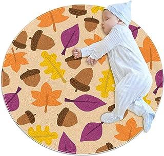 Vackert lönnlöv, barn rund matta polyester överkast matta mjuk pedagogisk tvättbar matta barnkammare tipi tält lekmatta