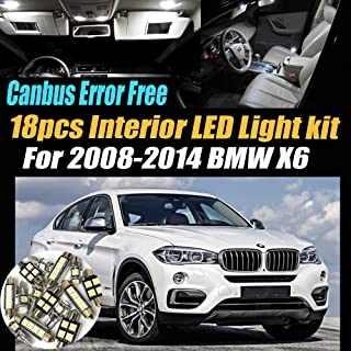 18Pc Canbus Error Free Super White 6000K Car Interior LED Light Pack Compatible for 2008-2014 BMW X6 Equipped w/Advanced Computer system