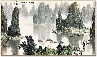 Canvastryck Kinesiska oljemålning Landskap asiatisk inredning vägg Pictrues för vardagsrum dekoration Maison kinesiska lan...