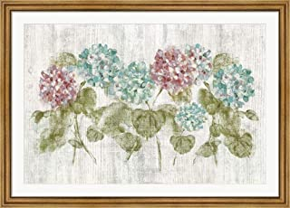 Vibrant Row of Hydrangea on Wood by Cheri Blum Framed Art Print Wall Picture, Wide Gold Frame, 50 x 36 inches