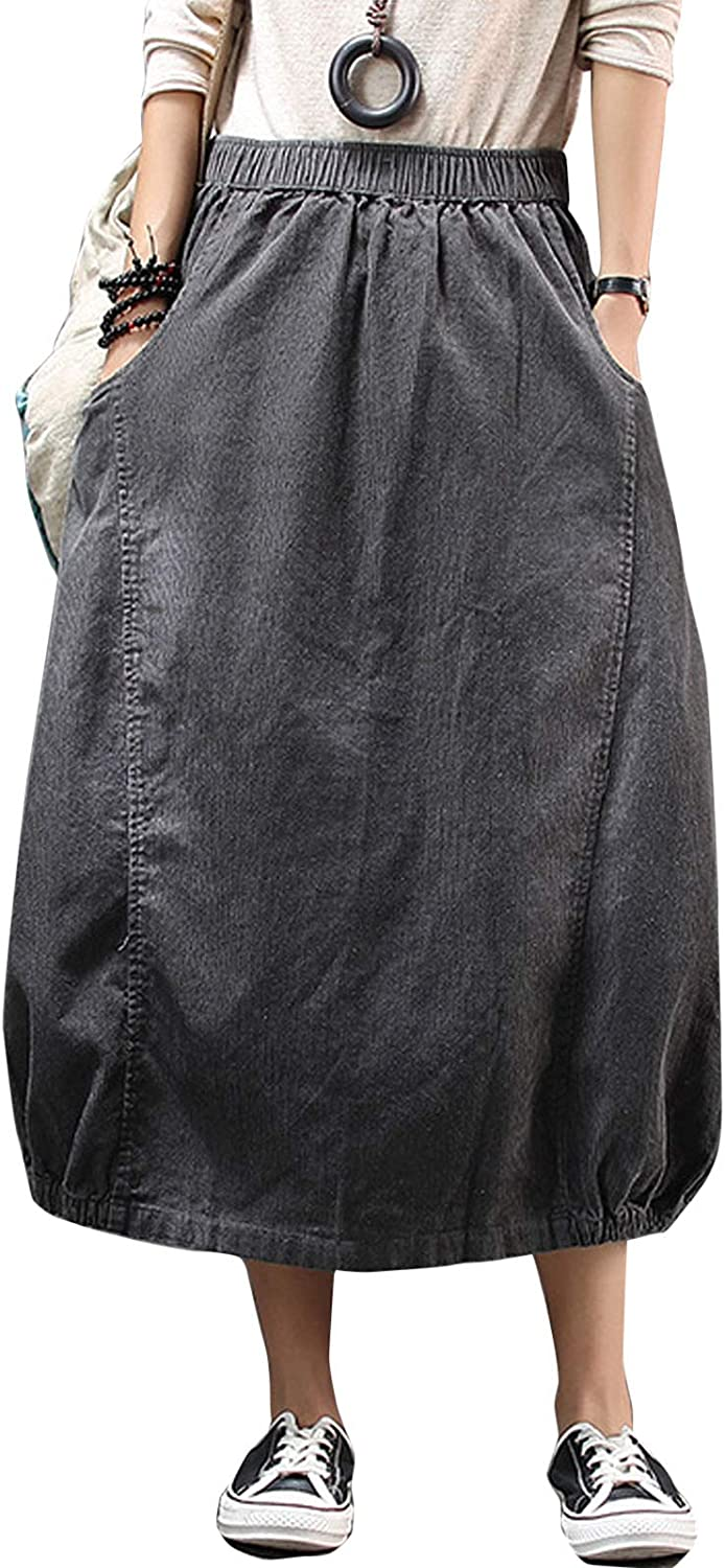 Flygo Women's Loose Swing A-Line Mid Long Corduroy Skirt with Pockets