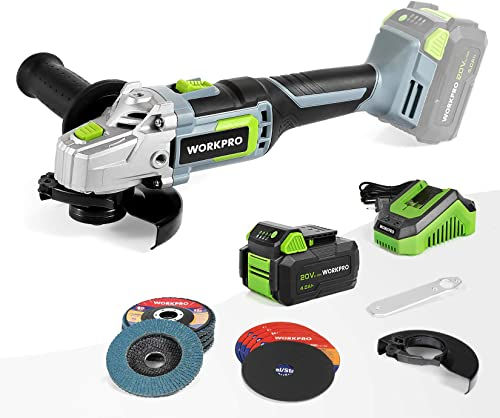 high quality WORKPRO 20V Cordless Angle Grinder outlet sale Kit, 4-1/2 Inch, Lightweight Angle Grinder Tool w/ 4.0Ah Lithium-Ion Battery outlet sale & Fast Charger, Ergonomic Button Position for Reducing Hand Pressure online