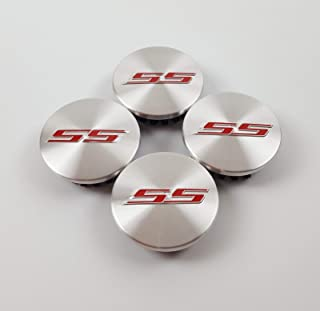 Coolandi CS65S 4X Silver Red SS Camaro Emblem Car Wheel Center Rim Hub Cap for Chevy 2.2'' Diameter