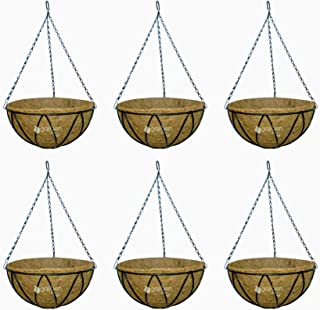GARDEN KING - 12 INCH Coir Hanging Basket with Chain (Set of 6) Coir Hanging POTS for Plants Balcony