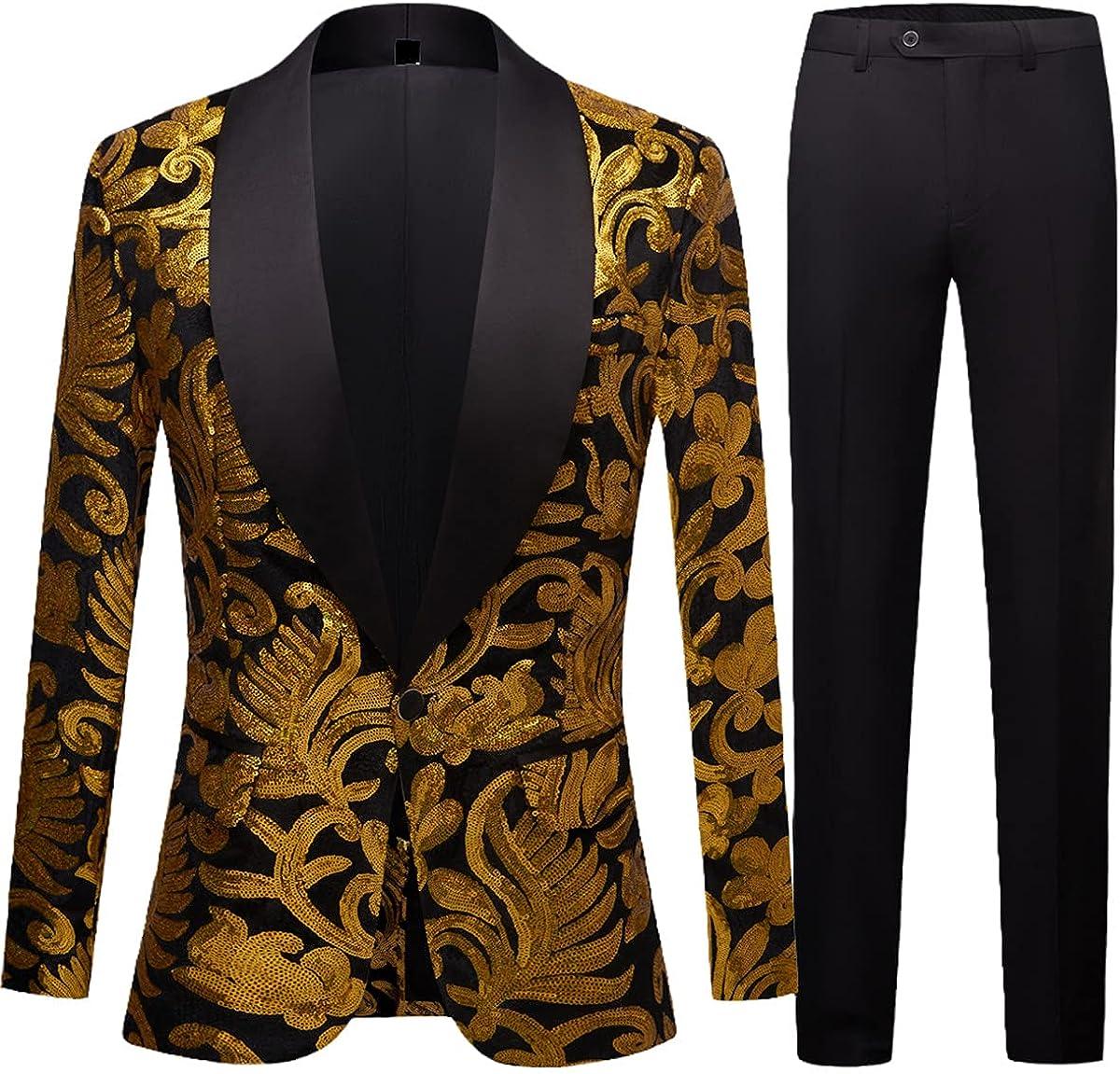 Men's Shiny Gold Sequin Blazer Nightclub Blazer Wedding Party Blazer Stage Singer 2-Piece Set