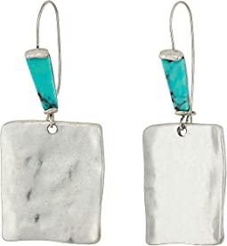 Turquiose and Silver Square Drop Earrings
