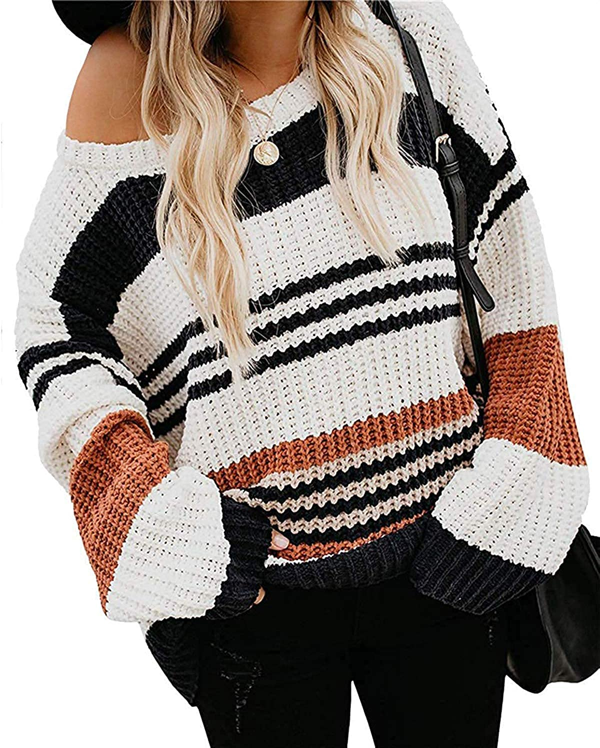 MEROKEETY Women's Crew Neck Long Sleeve Color Block Knit Sweater Casual Pullover Jumper Tops