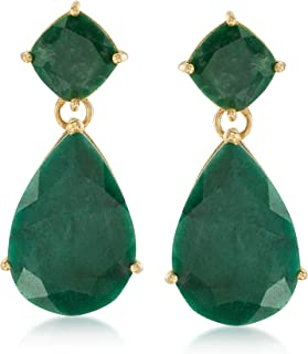 Ross-Simons 19.20 ct. t.w. Emerald Drop Earrings in 18kt Gold Over Sterling