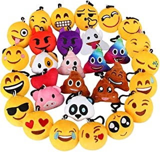 Dreampark Emoji Keychain, Emoji Plush Key Chain Bulk Toy Hallween Birthday Party Favors Supplies, Treasure Box Rewards Carnival Prizes for Kids Boys and Girls, 2