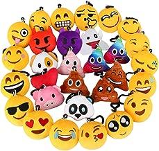 Dreampark Emoji Keychain, Emoji Plush Key Chain Bulk Toy Hallween Birthday Party Favors Supplies, Treasure Box Rewards Carnival Prizes for Kids Boys and Girls, 2