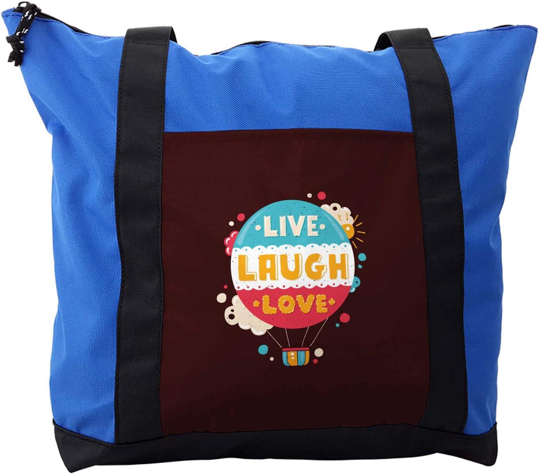 Ambesonne Love Shoulder Bag, Air Balloon Cheerful Retro, Durable with Zipper