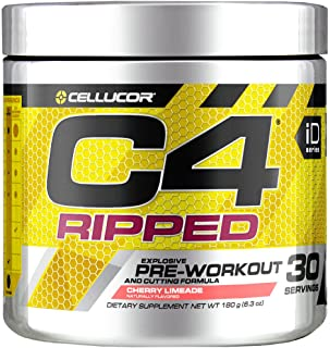 Cellucor C4 Ripped Pre Workout Powder, Cherry Limeade, 30 Servings - Preworkout Powder for Men & Women with Green Coffee Bean Extract & L Carnitine